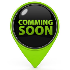 Coming soon pointer icon on white background