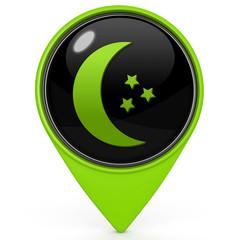 Moon pointer icon on white background