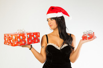 Sexy brunette with presents