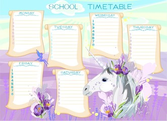 School timetable with Unicorn