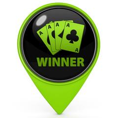 Winner pointer icon on white background