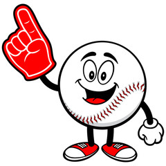 Baseball Mascot with Foam Finger