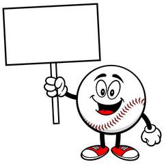 Baseball Mascot with Sign