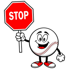 Baseball Mascot with Stop Sign