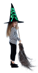 Little girl Witch with broom in hat isolated on white