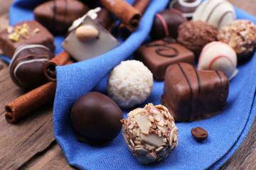 Group of chocolates with cinnamon stick