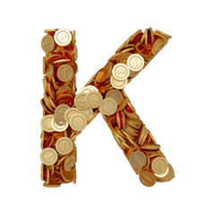 Alphabet letter K with golden coins isolated on white background