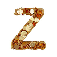 Alphabet letter Z with golden coins isolated on white background