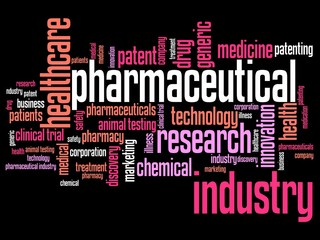 Pharmaceutical research - word cloud concept