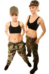 two women in military clothes army girls isolated
