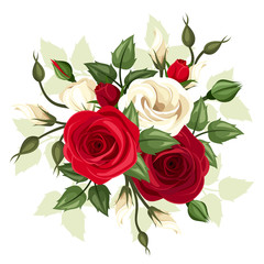 Red and white roses and lisianthus flowers. Vector illustration.