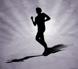 Running man black silhouette on grey background