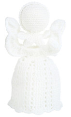 Knitted Christmas angel isolated on white