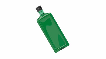 Green alcohol bottle spin on white background