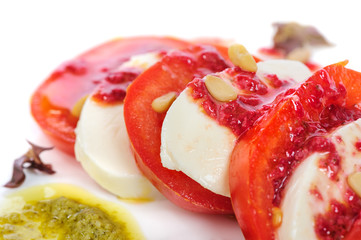 Caprese antipasto salad with mozarella cheese, tomatoes