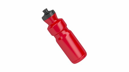Red plastic water bottle spin on white background