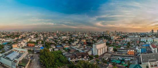 An aerial view of Bangkok city