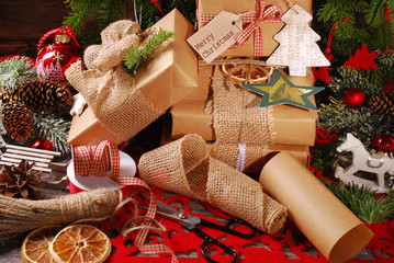 wrapping christmas presents  in eco paper
