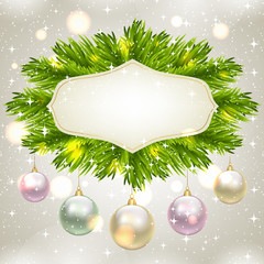 fir-tree branches and baubles