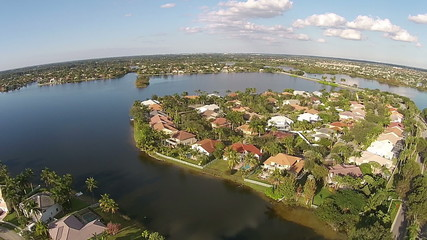 Waterfront properties in Florida aerial view