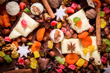 background with sweets and chocolate