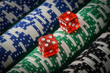 Gambling Chips and Red Dice