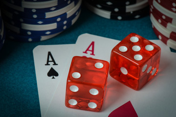 Playing Cards and Dice used with Gamling Chips
