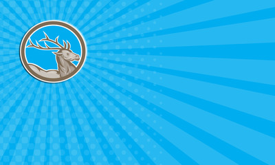 Business card Deer Stag Buck Head Circle Retro
