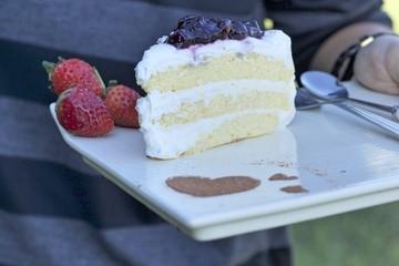 Blueberry cake and strawberry fruit