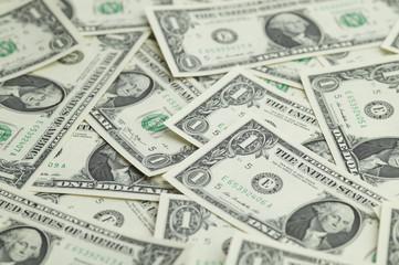 A lot of one dollar bills