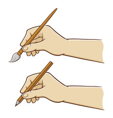 Hand holding pencil and brush