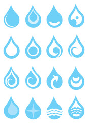Single Water Droplets with Symbols Design Vector Icon Set