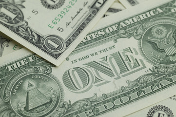 Close-up of a one dollar bill