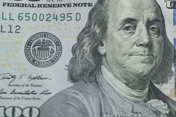 Benjamin Franklin printed by a US dollar