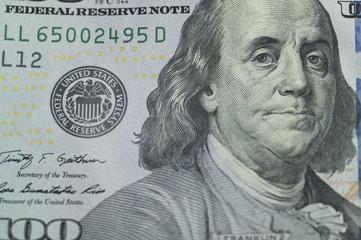 Benjamin Franklin printed by a US dollar