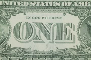 The back of the US one dollar bill