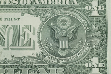 The American national emblem printed by a one dollar bill