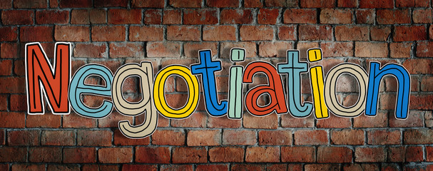 Negotiation Brick wall Single Word Text Background Clean Concept