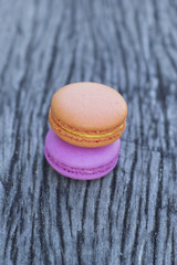 French macaroons on a wooden floor