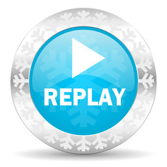 replay icon, christmas button