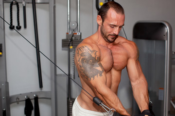 Portrait of muscular man training on special sport equipment
