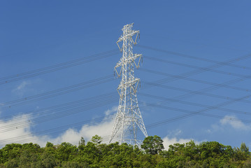 Electric pylon with electric lines