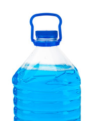 Bottle with blue liquid
