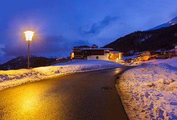Mountains ski resort Solden Austria at sunset