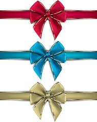 Shiny gift bows.