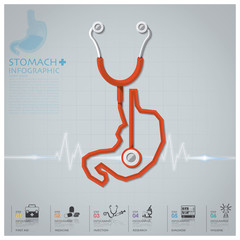 Stomach Shape Stethoscope Health And Medical Infographic