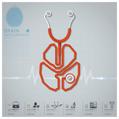 Brain Shape Stethoscope Health And Medical Infographic