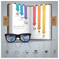 Education And Graduation Infographic With Line Arrow Bookmark Di