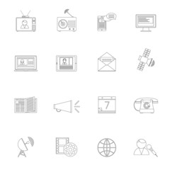 Media icons outline set