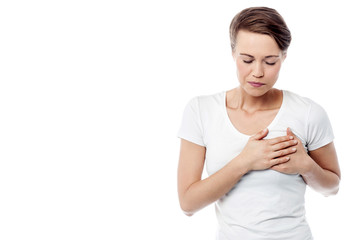 Sick woman suffers from chest pain